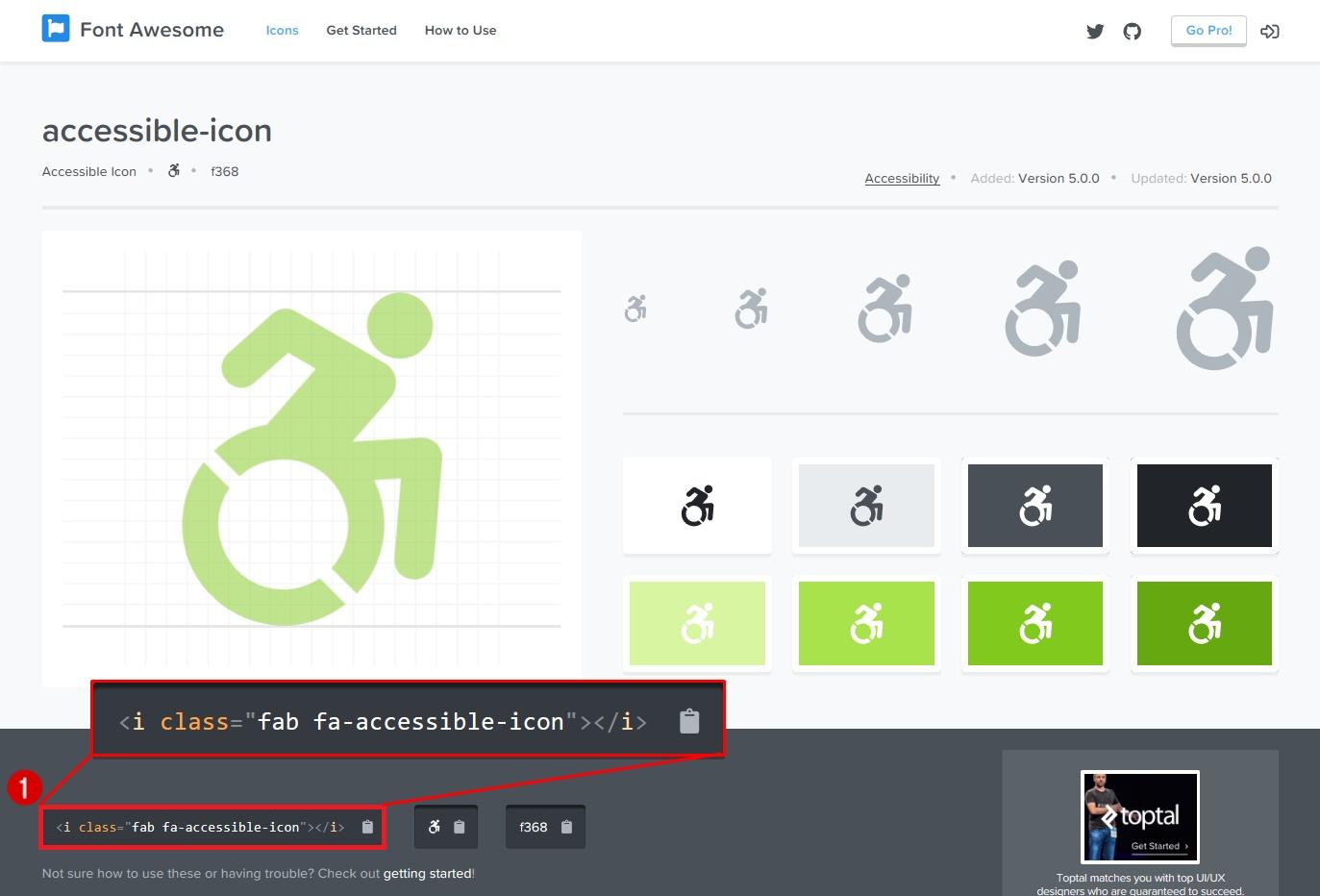 accessibleのアイコンのクラス名