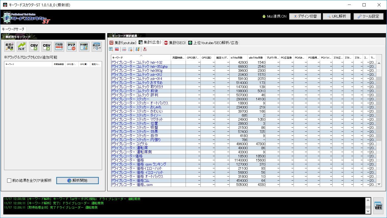ドライブレコーダーの関連キーワード解析結果