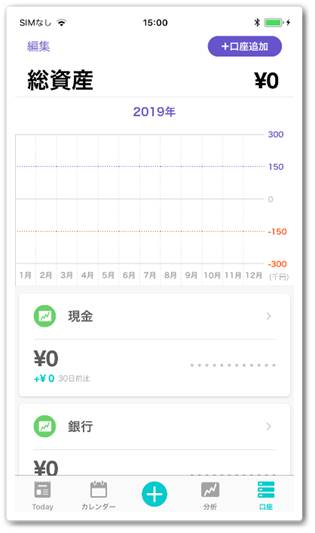 スマートフォン版の総資産画面