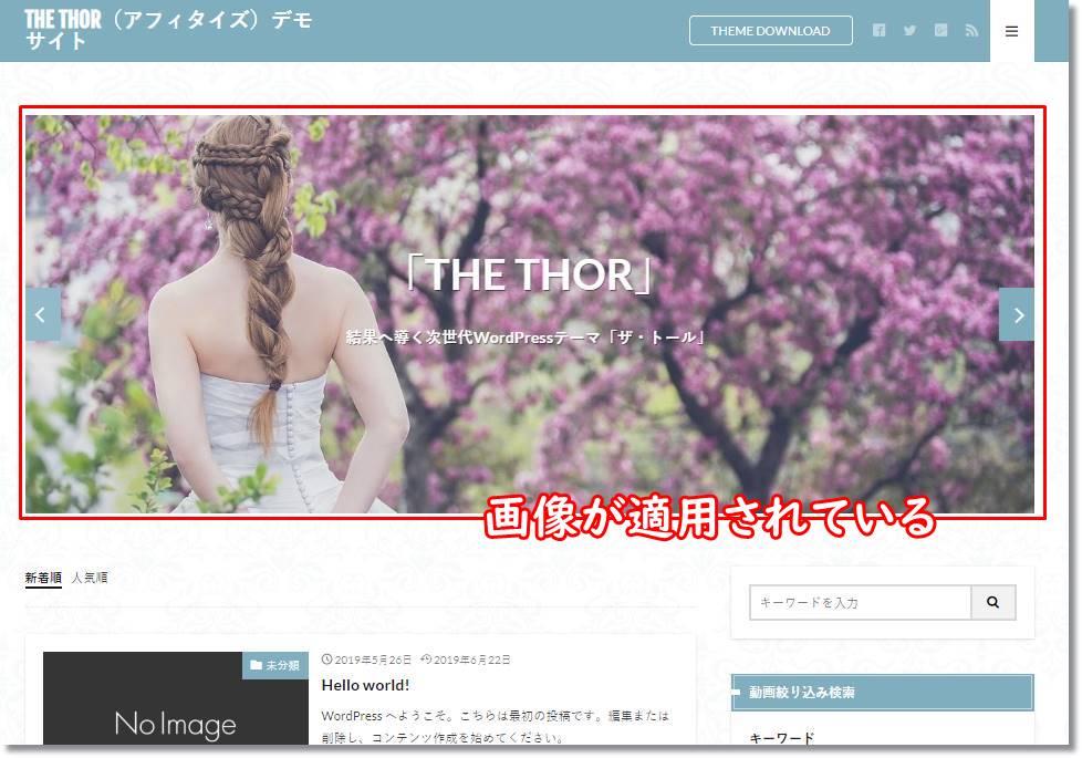デモ画像が適用されたサイト
