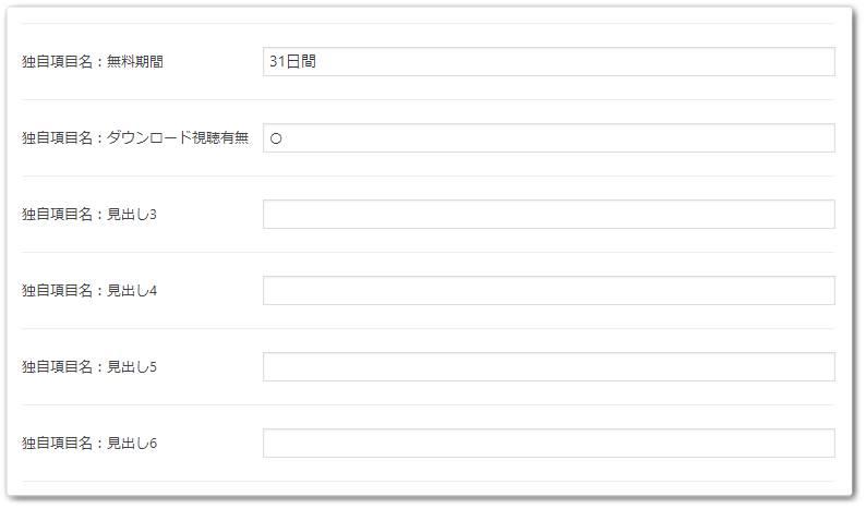 独自項目の設定画面
