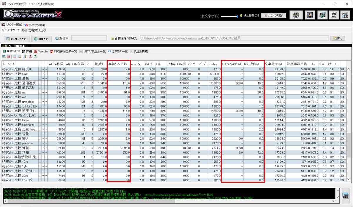 実被リンク平均・FBいいね平均・はてブ平均の解析結果画面