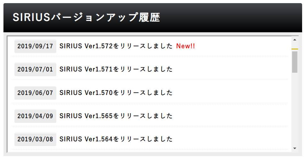 SIRIUSのバージョンアップ頻度