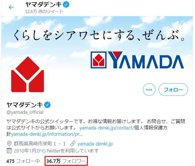ヤマダ電機の公式Twitterのフォロワー数